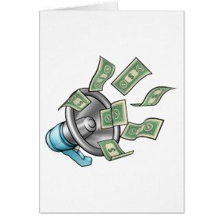 Cartoon Money Megaphone Concept Card