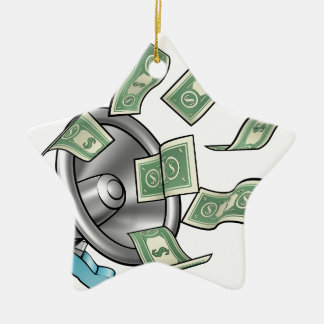 Cartoon Money Megaphone Concept Ceramic Ornament