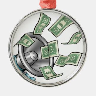 Cartoon Money Megaphone Concept Metal Ornament