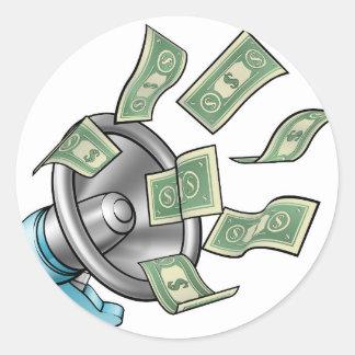 Cartoon Money Megaphone Concept Round Sticker