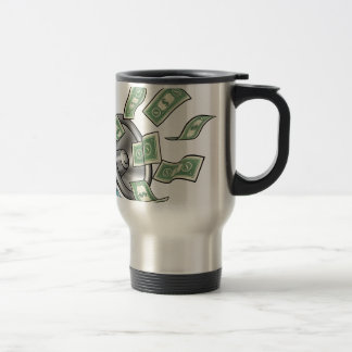 Cartoon Money Megaphone Concept Travel Mug