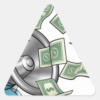 Cartoon Money Megaphone Concept Triangle Sticker