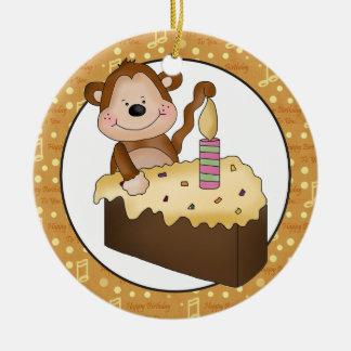 Cartoon Monkey Birthday add words ornament