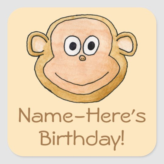 Cartoon Monkey, Birthday. Square Sticker