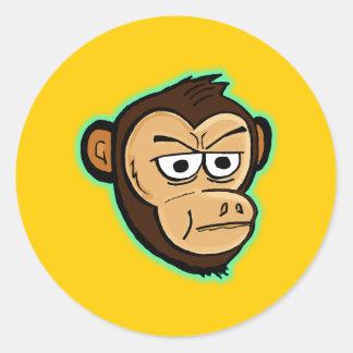 Cartoon Monkey Classic Round Sticker