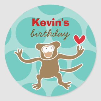 Cartoon Monkey Kid Custom Gift Favour Label Round Sticker