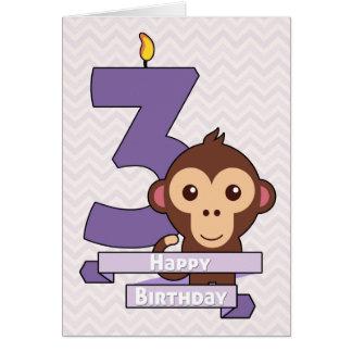 Cartoon Monkey on a Birthday Card for Child