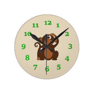 Cartoon Monkey Round Clock