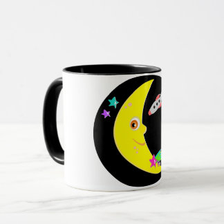 Cartoon Moon Rocket Mug