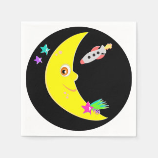 Cartoon Moon Rocket Paper Napkins