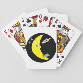 Cartoon Moon Rocket Playing Cards