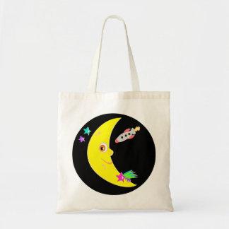 Cartoon Moon Rocket Tote Bag