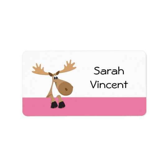 Cartoon moose - pink and white name label/tag label