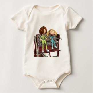 Cartoon Mother and Daughter on a Ferris Wheel Baby Bodysuit