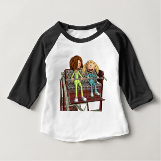 Cartoon Mother and Daughter on a Ferris Wheel Baby T-Shirt