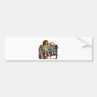 Cartoon Mother and Daughter on a Ferris Wheel Bumper Sticker