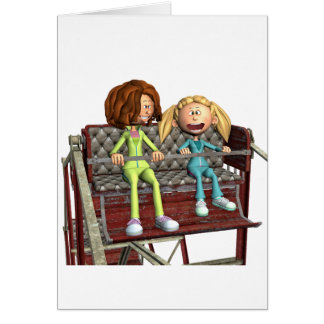 Cartoon Mother and Daughter on a Ferris Wheel Card