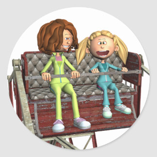 Cartoon Mother and Daughter on a Ferris Wheel Classic Round Sticker