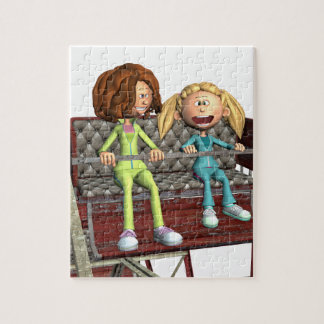 Cartoon Mother and Daughter on a Ferris Wheel Jigsaw Puzzle