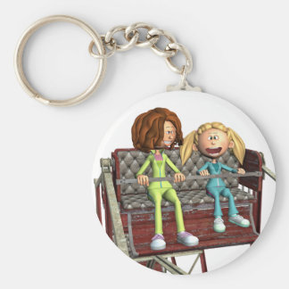 Cartoon Mother and Daughter on a Ferris Wheel Keychain