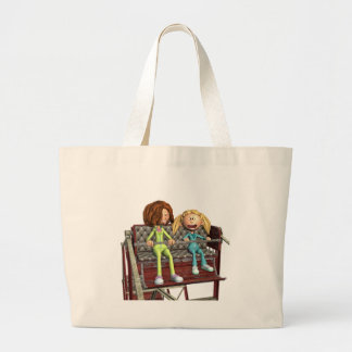 Cartoon Mother and Daughter on a Ferris Wheel Large Tote Bag