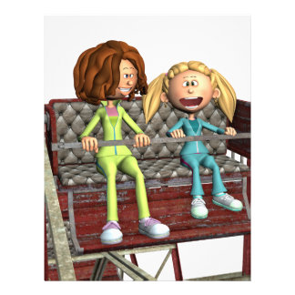 Cartoon Mother and Daughter on a Ferris Wheel Letterhead Template