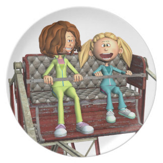 Cartoon Mother and Daughter on a Ferris Wheel Plate