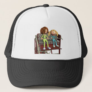 Cartoon Mother and Daughter on a Ferris Wheel Trucker Hat