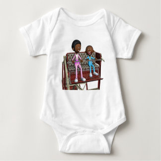 Cartoon Mother and Son on a Ferris Wheel Baby Bodysuit