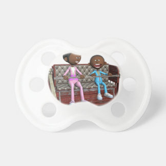Cartoon Mother and Son on a Ferris Wheel Baby Pacifier