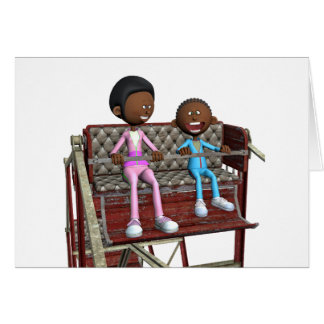 Cartoon Mother and Son on a Ferris Wheel Card