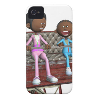 Cartoon Mother and Son on a Ferris Wheel iPhone 4 Cases