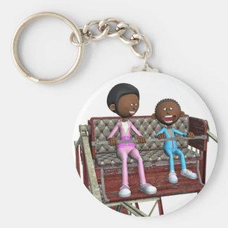 Cartoon Mother and Son on a Ferris Wheel Keychain