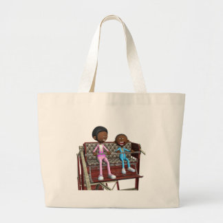 Cartoon Mother and Son on a Ferris Wheel Large Tote Bag