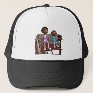 Cartoon Mother and Son on a Ferris Wheel Trucker Hat