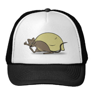 Cartoon Mouse Carrying Bag and Giving Thumbs Up Trucker Hat