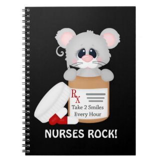 Cartoon mouse fun Nurse notebook