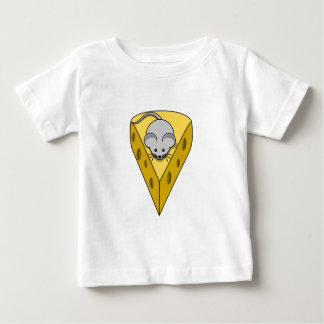 Cartoon Mouse on a Wedge of Swiss Cheese Baby T-Shirt