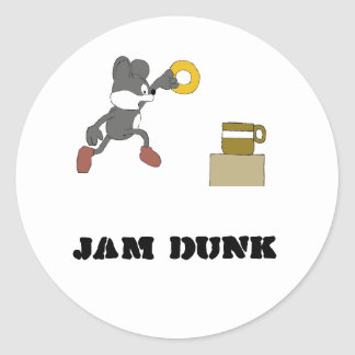 Cartoon Mouse With Coffee And Doughnut Round Sticker