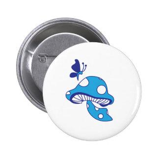 Cartoon Mushroom & Butterfly 2 Inch Round Button