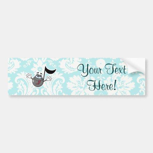 Cartoon Music Note; Cute Bumper Sticker