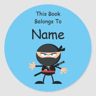 Cartoon Ninja Book Label