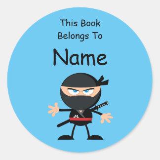 Cartoon Ninja Book Label Round Sticker