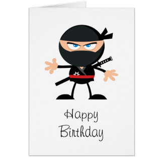 Cartoon Ninja Happy Birthday Card