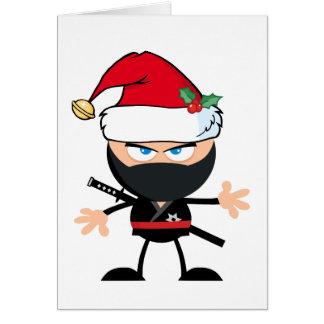 Cartoon Ninja Warrior in Santa Claus Hat Card