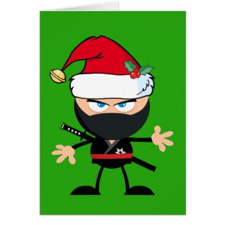 Cartoon Ninja Warrior in Santa Claus Hat Green Card