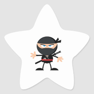 Cartoon Ninja Warrior Star Sticker