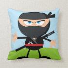 Cartoon Ninja Warrior Throw Pillow