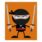 Cartoon Ninja Warrior With Two Katana Poster