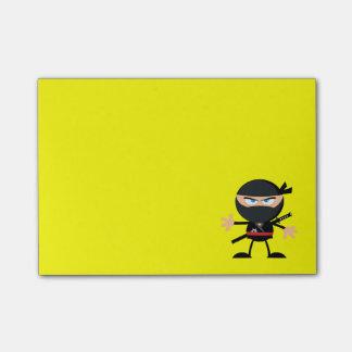 Cartoon Ninja Warrior Yellow Post-it Notes